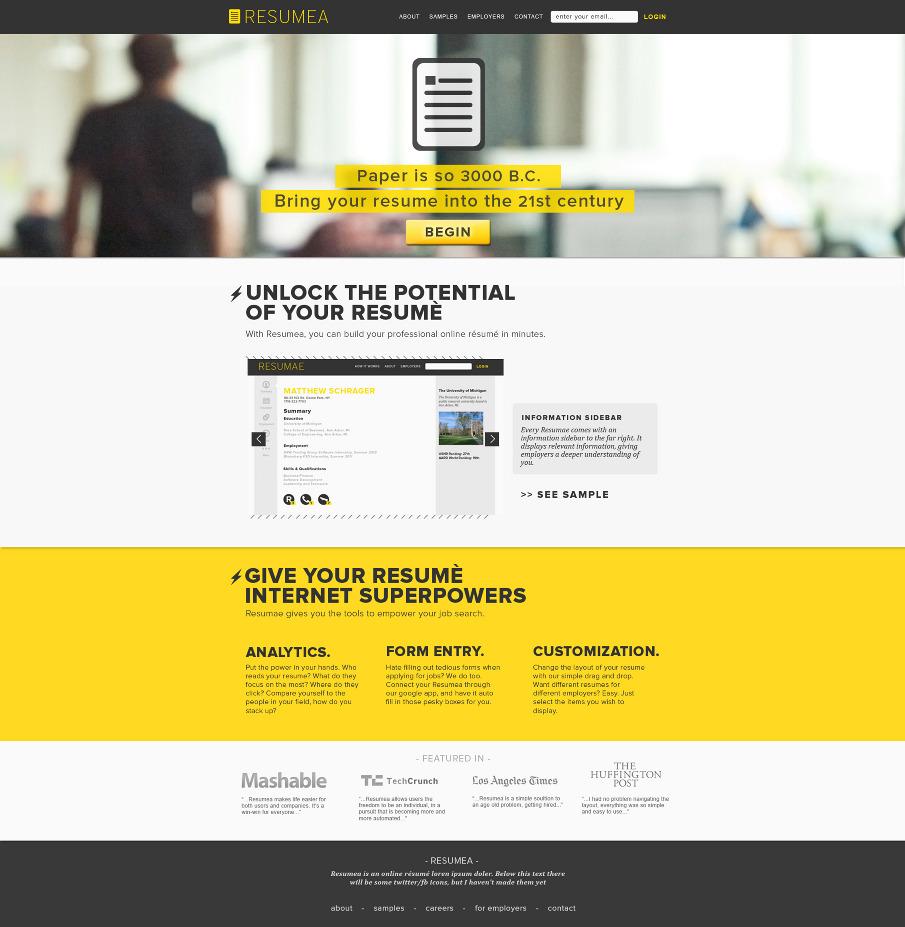 web design for resumea alexandermark personal network