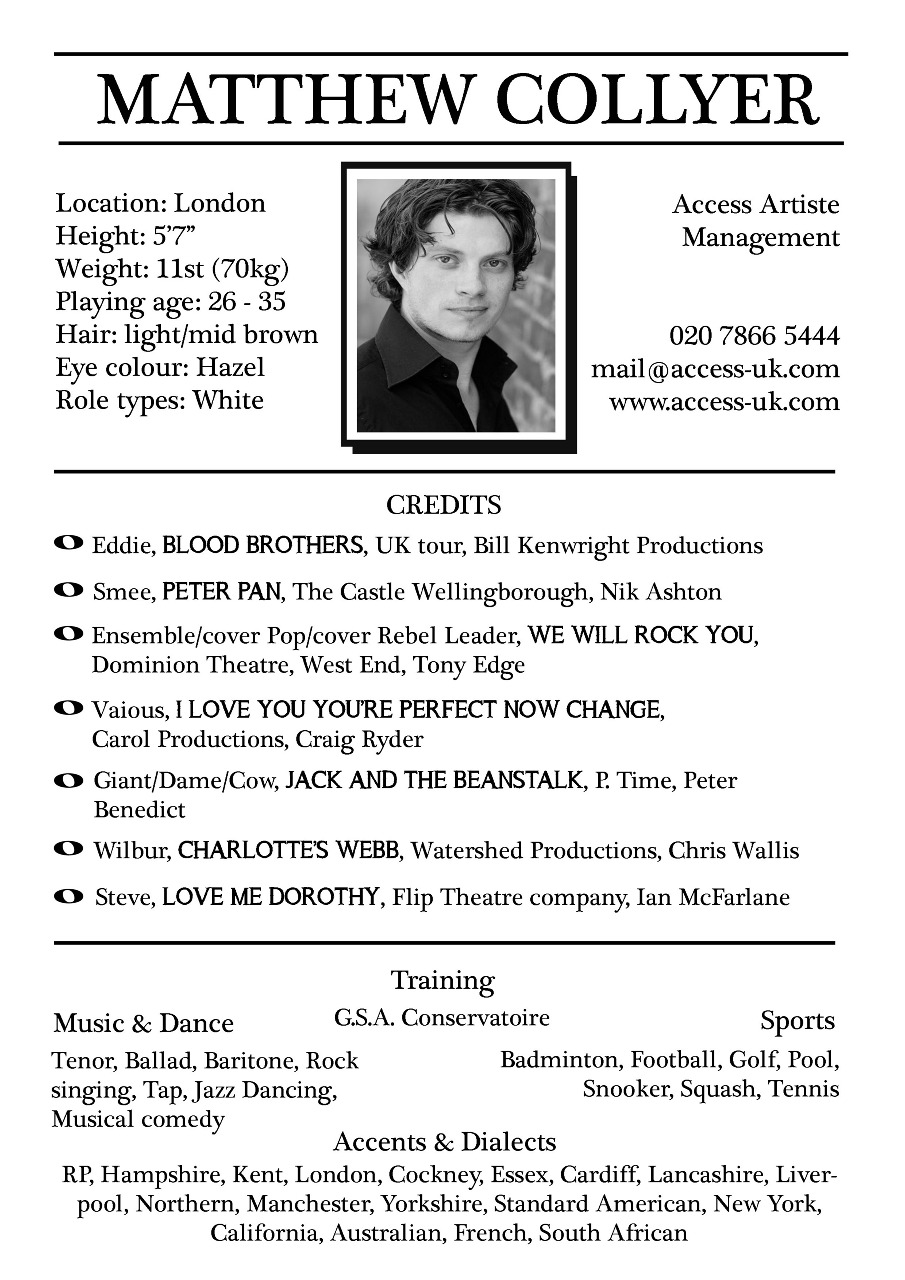 examples of actors resumes